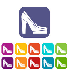 women shoes on platform icons set vector image vector image