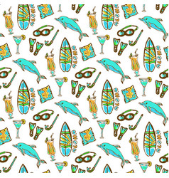 hand drawn surfing and diving seamless pattern vector image vector image