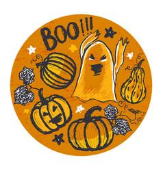 Ink hand drawn halloween background vector