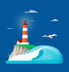 lighthouse in flat style vector image