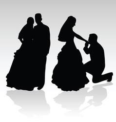 wedding couple silhouette vector image
