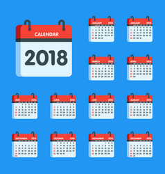 calendar for 2018 year icon set vector image