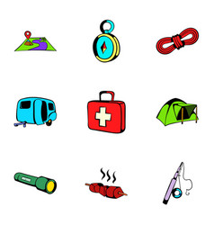 camp icons set cartoon style vector image vector image