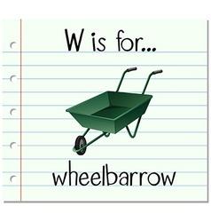 Flashcard letter w is for wheelbarrow vector