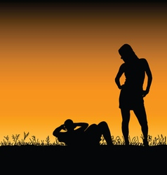 man and woman in the nature vector image
