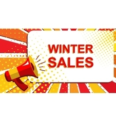 Megaphone with WINTER SALES announcement Flat vector image vector image