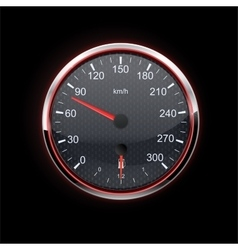 Speedometer on black background red backlight vector image