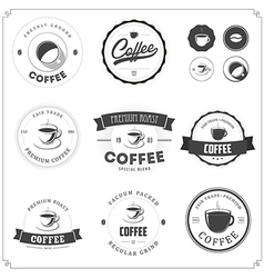 Set of coffee themed monochrome labels vector