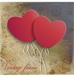 Vintage background with two hearts vector image