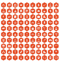 100 team building icons hexagon orange vector image