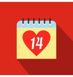 14 February calendar flat icon vector image