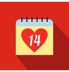 14 February calendar flat icon vector