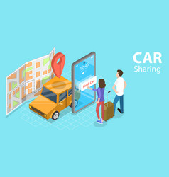 3d isometric flat concept car sharing vector image
