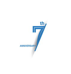 7 anniversary blue cut style isolated on white vector