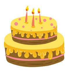 a chocolate cake with two layers yellow icing and vector image