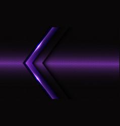 Abstract violet glossy arrow on dark hexagon mesh vector