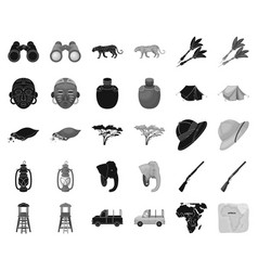 african safari blackmonochrome icons in set vector image