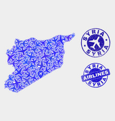 Aircraft mosaic syria map and grunge stamps vector
