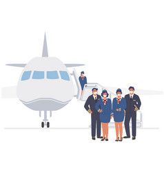 Airline cabin crew pilot and stewardess in face vector