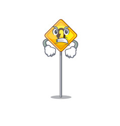 Angry u turn sign with a mascot vector