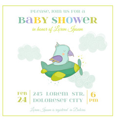 Baby shower card cute parrot flying on a plane vector