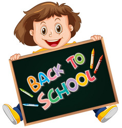 back to school template with happy girl vector image