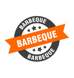 barbeque sign barbeque orange-black round ribbon vector image
