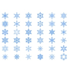 Big set of 36 blue snowflakes vector image