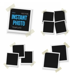 Blank vintage photo frame mockup set isolated vector