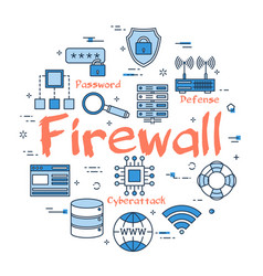 Blue round firewall concept vector