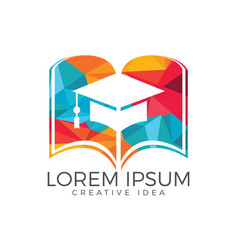 book and student cap logo design vector image