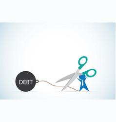 businessman holding scissors to cut debt business vector image