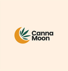 Cannabis moon crescent sophisticated aesthetic vector