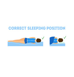 cartoon correct sleeping body posture vector image