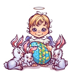 Cartoon cute angel ant sweet rabbits vector