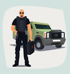 Cash and valuables in transit guard man vector