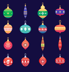 Christmas tree toys new year xmas balls set vector