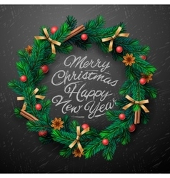 Christmas wreath with garlands vector image