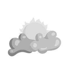 Clouds and sun icon black monochrome style vector image