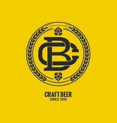 craft beer logo on yellow background vector image