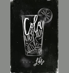 Cuba libre cocktail chalk vector