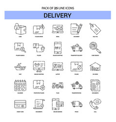 Delivery line icon set - 25 dashed outline style vector
