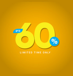 Discount up to 60 limited time only template vector