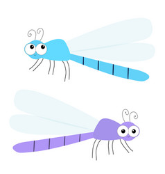 dragonfly icon set cute cartoon kawaii funny vector image