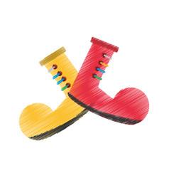 drawing clown boots april fools vector image