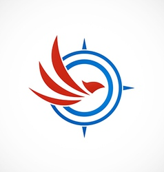 eagle bird compass abstract logo vector image