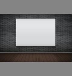 Empty mockup billboard on brick wall vector