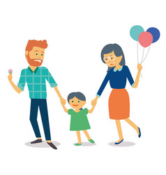 family with young kid and mother holding balloons vector image