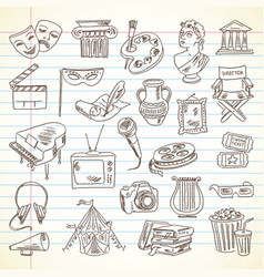 Freehand drawing culture and art items vector