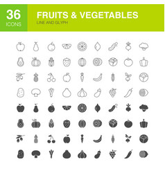 Fruits vegetables line web glyph icons vector